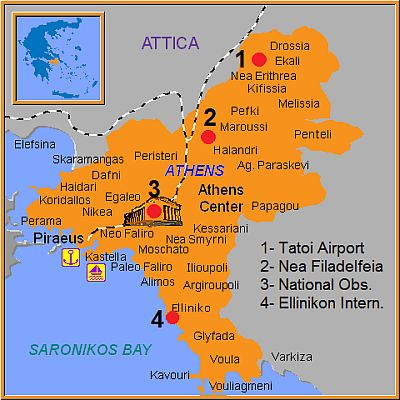 Athens, weather stations position