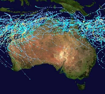 Area affected by cyclones in Australia