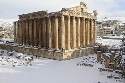 Snow on the temple of Bacchus in Baalbek