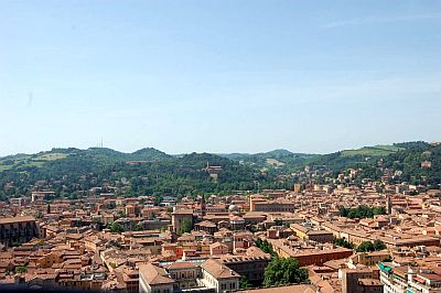 Bologna and the hills in the background