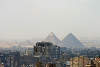 Cairo, houses and pyramids in the background