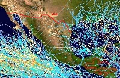 Cyclone paths in Mexico