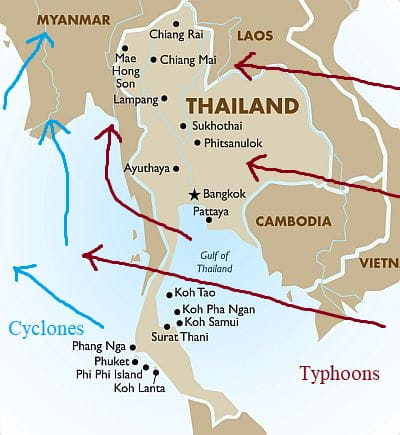 Cyclones and typhoons in Thailand