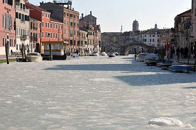 Frozen lagoon of Venice