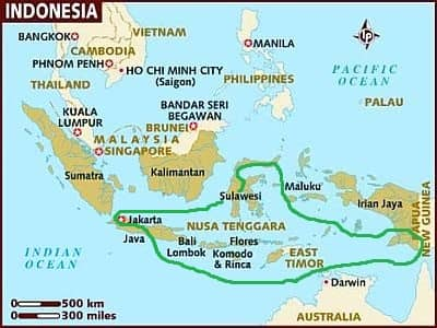 Indonesia, areas with a tropical climate