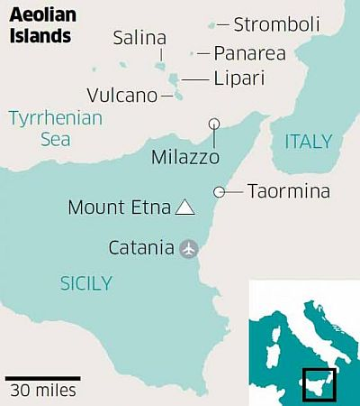 Aeolian Islands, map