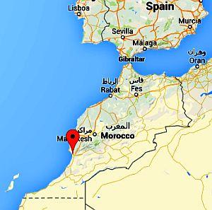 Agadir, position in the map