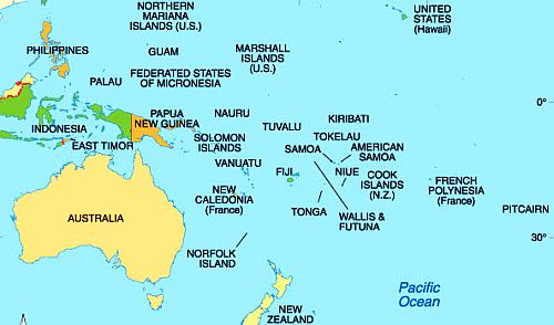 Climate Oceania List Of The Countries - Map oceania