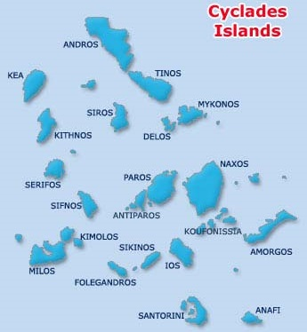 Cyclades Islands, map