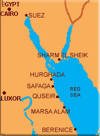 Eastern Egypt and Red Sea, map