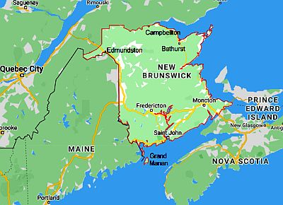 New Brunswick, map