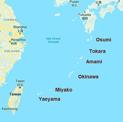 Ryukyu Islands, map