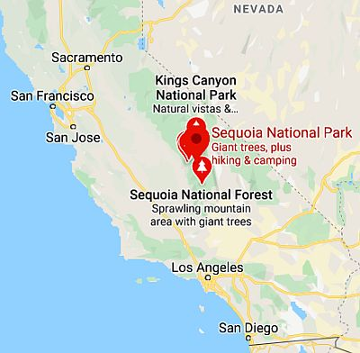 Sequoia National Park, map