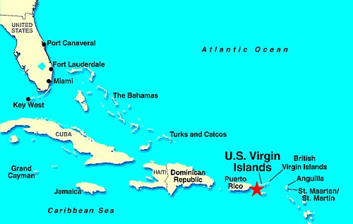 Island map state united virgin