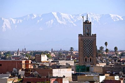 Marrakech, snow-capped Atlas peaks in the background