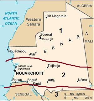 Climatic zones in Mauritania