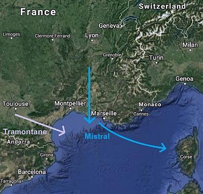 Mistral and tramontane in France