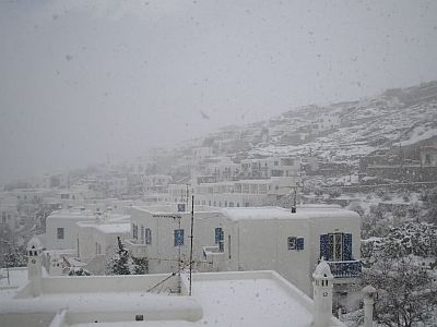 Snow in Mykonos