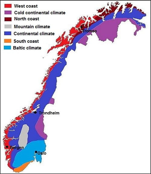 Climate In Norway Temperature Precipitation When To Go What To - Norway map mountains
