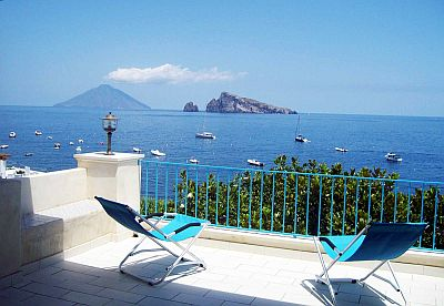 The sea viewed from Panarea, with Stromboli and Basiluzzo in the background