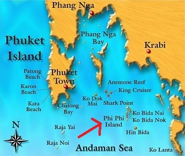 Map of Phi Phi islands and surrounding areas