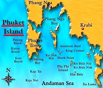 Map of Phuket and surrounding areas