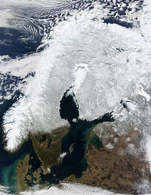 Sweden from the satellite, snow cover in the center-north
