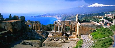 Taormina, theater, sea and Mount Etna in the background
