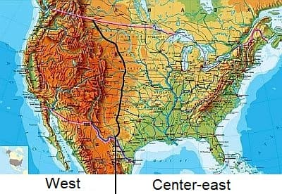 United States: division between west and center-east