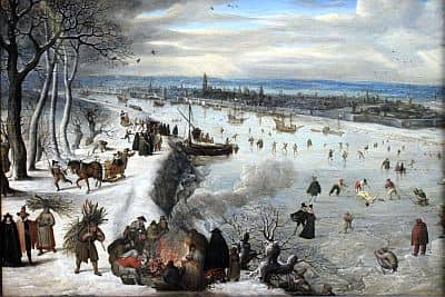 View of Antwerp with the frozen Scheldt (1590), by Lucas van Valckenborch